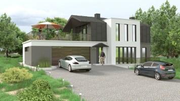 wizualizacja nowoczesnego domu jednorodzinnego z blachą na elewacji i dachu