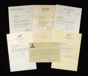 Letters from umpire turned folk artist George Sosnak. (Courtesy Hunt Auctions)