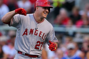 Mike Trout celebrating being traded to the Tigers