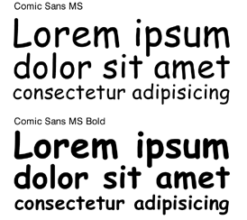 Example of the Comic Sans font.