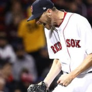 Chris Sale reacts during the seventh inning against the Pirates at Fenway Park on April 5, 2017 in Boston. (Maddie Meyer / Getty Images)