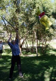 Bas hits the piñata