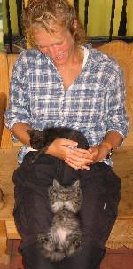 Bas met twee van de jongen poesjes in het Hostel