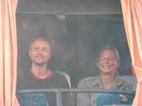 Machiel en Rudina in de bus naar Puerto Madryn