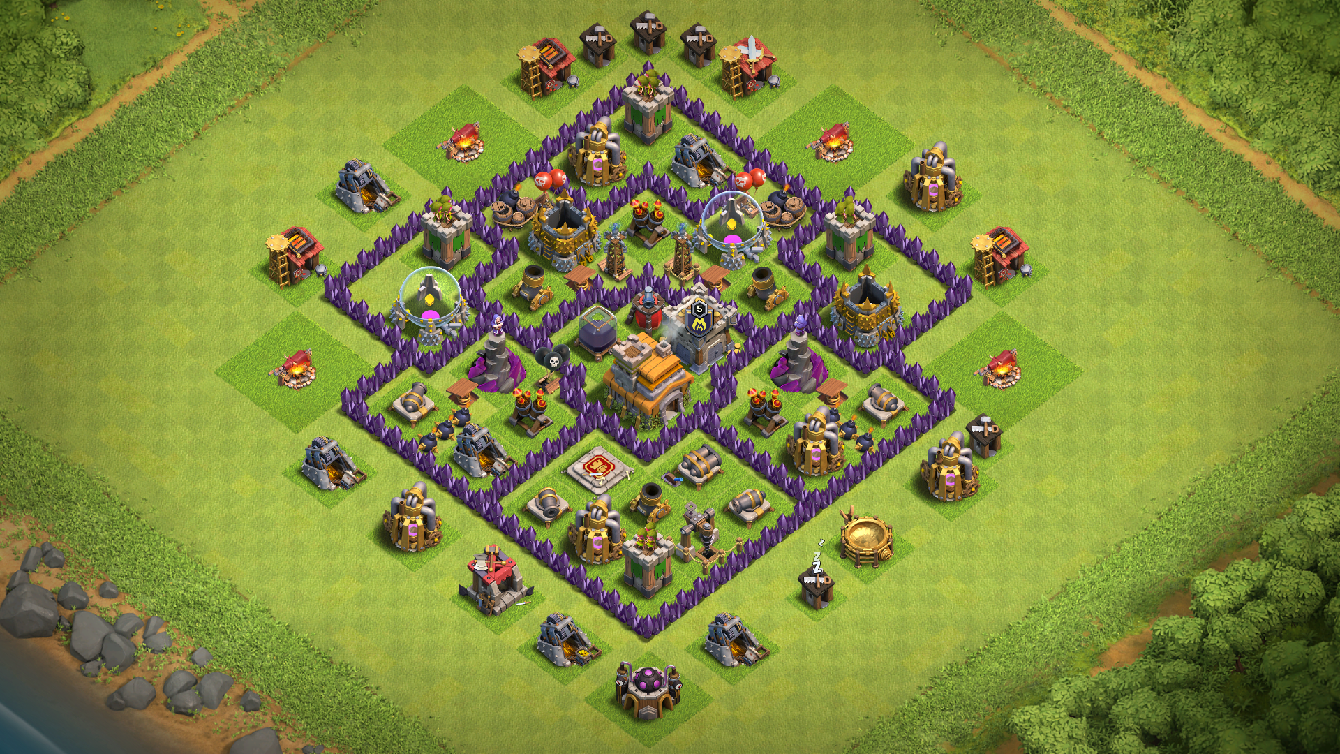 Best Hidden Base Hall No Town Clans Tesla Clash 7