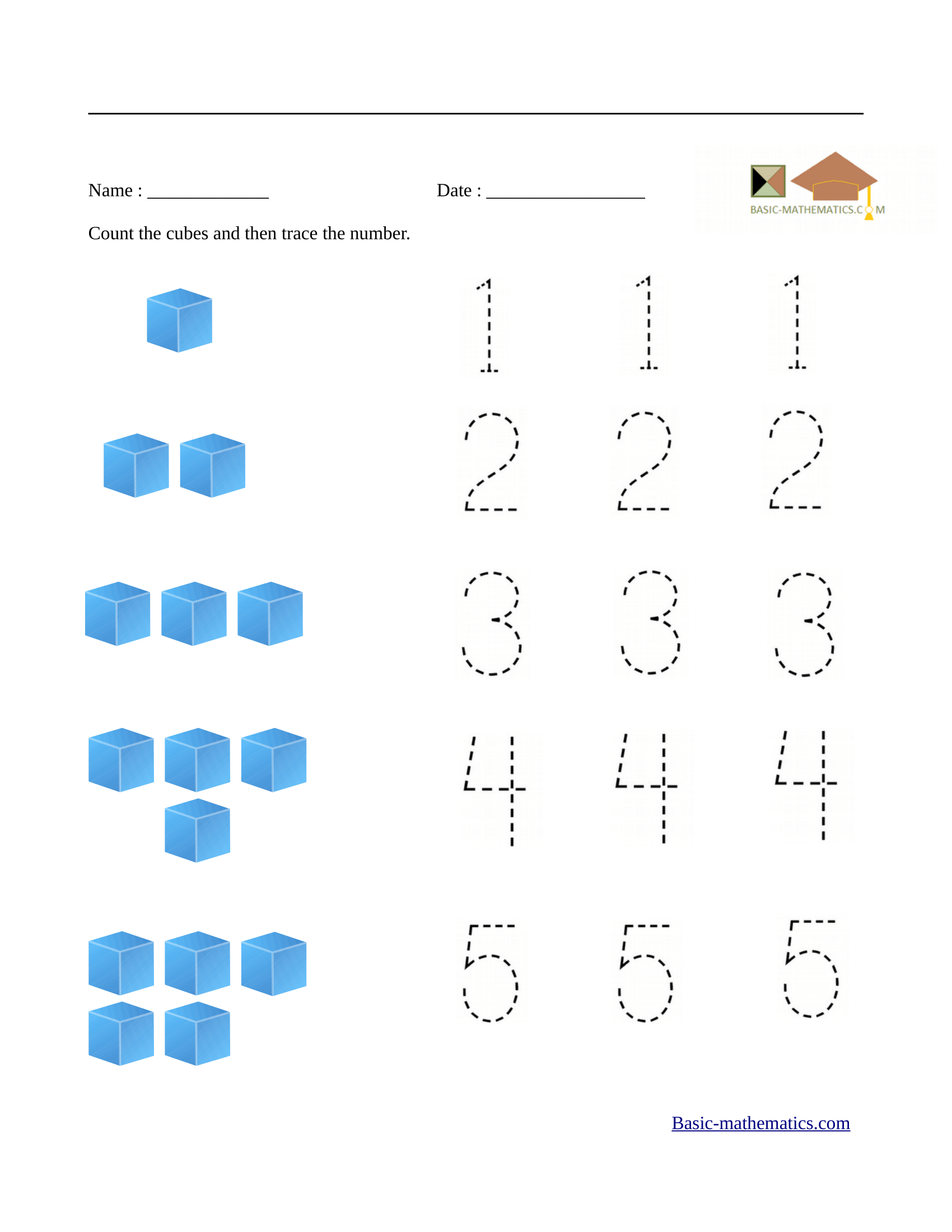 Worksheet Math For Preschool
