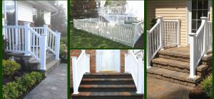 Pvc Fencing Railings Basics Landscpaing Co Inc | Pvc Railings For Steps | 3 Step | Plastic | Corner Interior Stair | Steel Vertical Balustrade White Handrail Post | Design