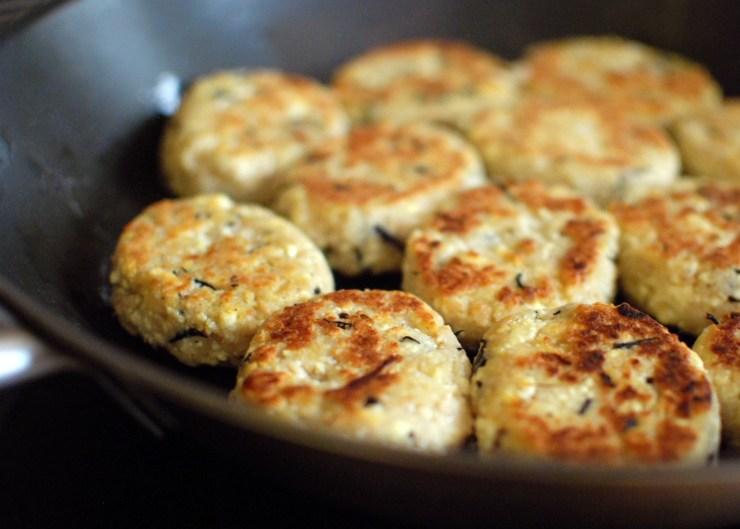 frying the macrobiotic meatballs - soya mince