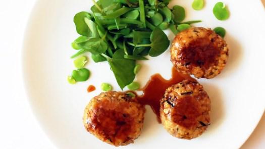 The best recipe for maple (or honey) teriyaki sauce that I know! - maple teriyaki sauce coated soy mince hijiki balls vegetarian meatballs