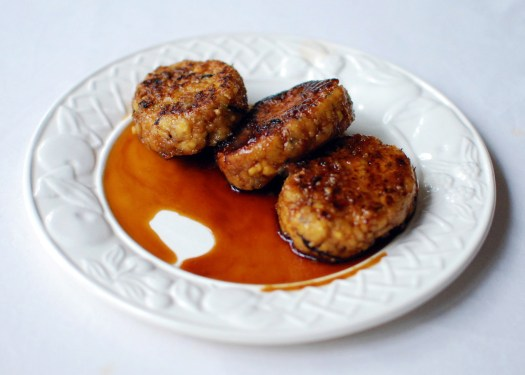 soya mince balls in teriyaki sauce vegetarian macrobiotic