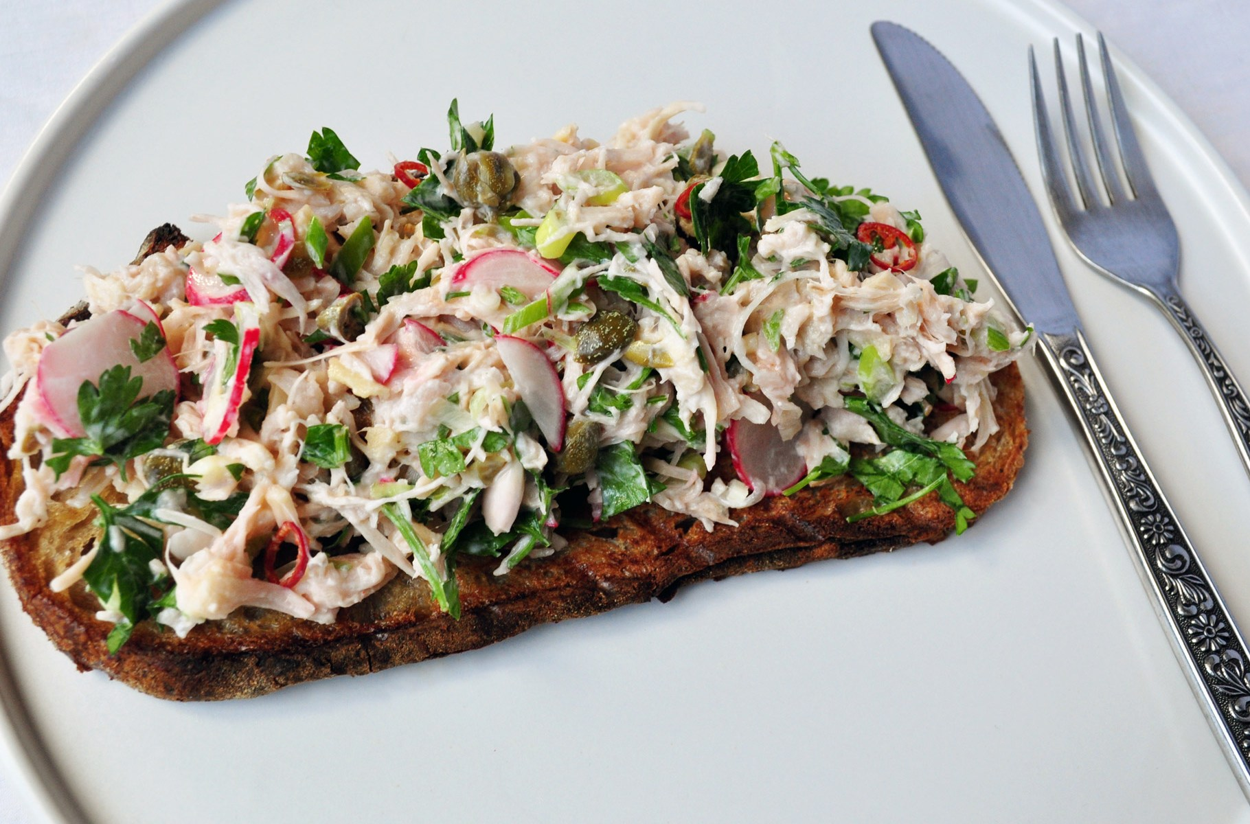 Devilled jackfruit salad on grilled sourdough bread