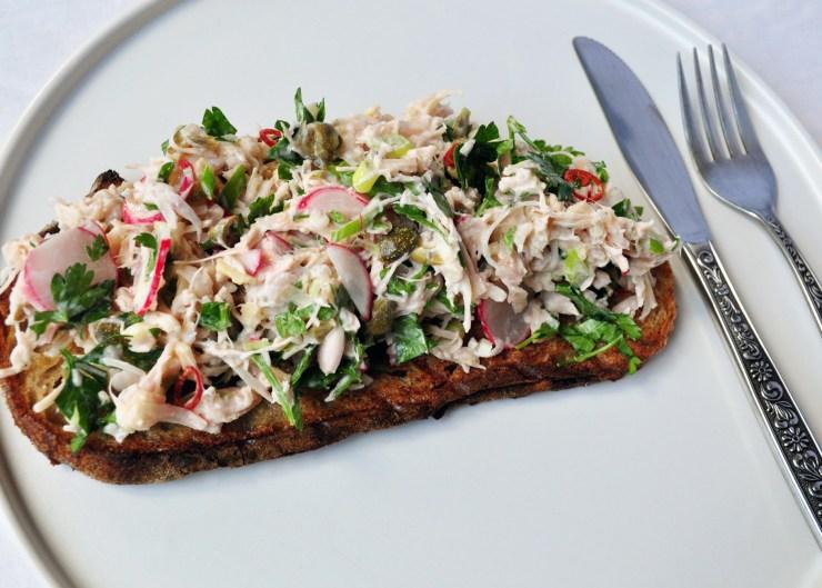 Devilled jackfruit salad on grilled sourdough bread