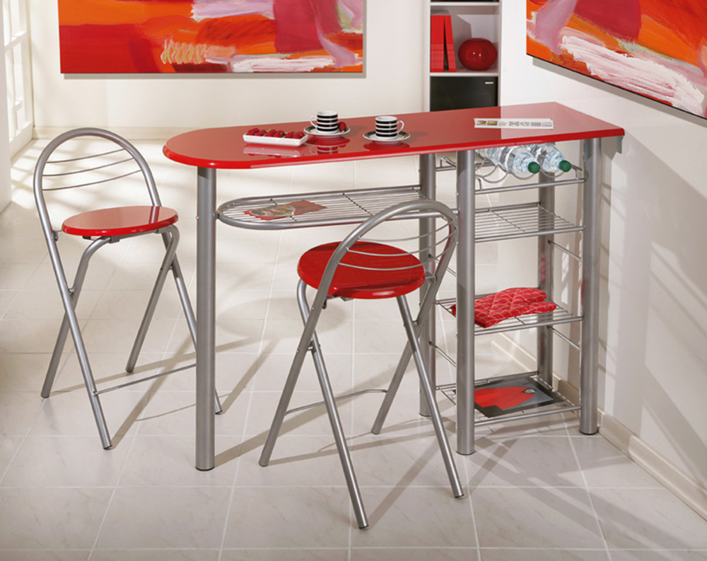 Ensemble Table Bar 2 Tabourets Brigitte Rouge