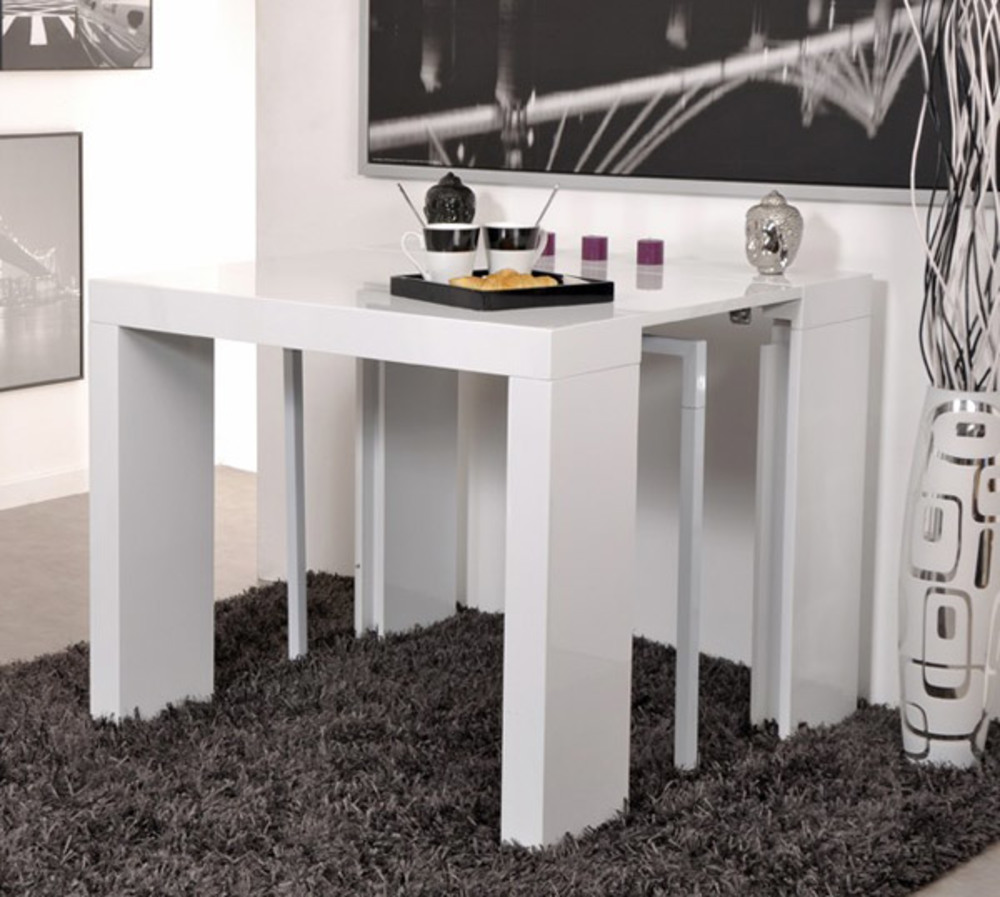 Table Console Extensible Algo Blanc Brillant