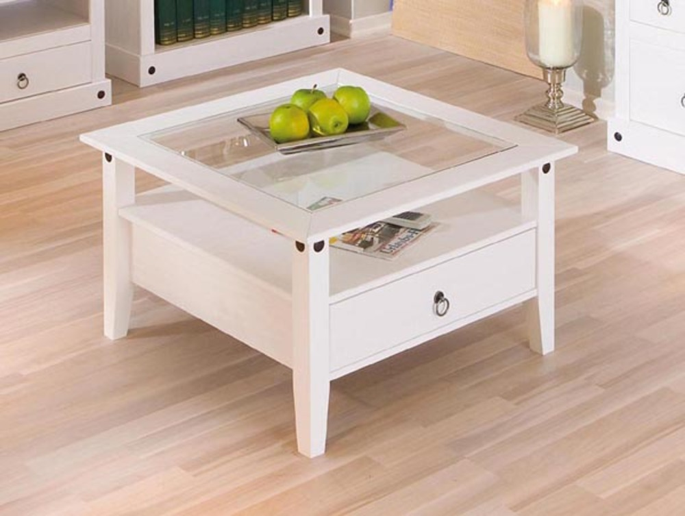 Table Basse 1 Tiroir Provence Blanc