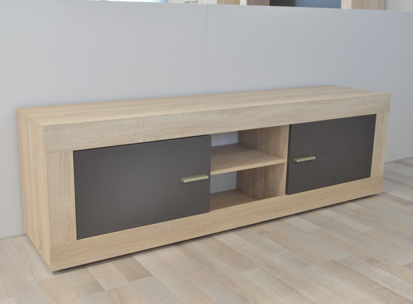 meuble tv 2 portes aura chene samoa gris mat