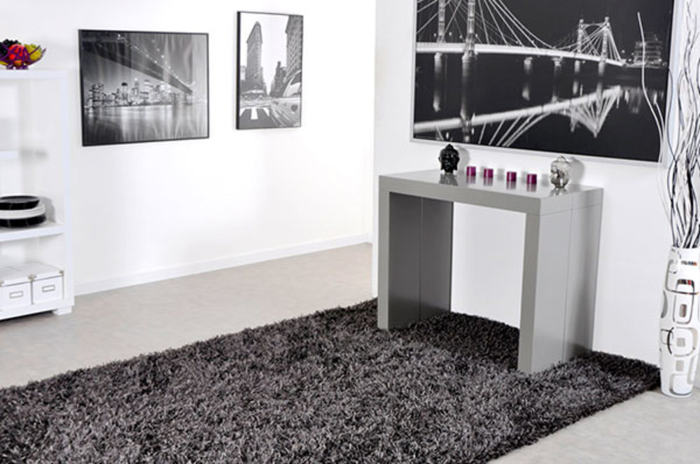 Table Console Extensible Algo Gris Brillant