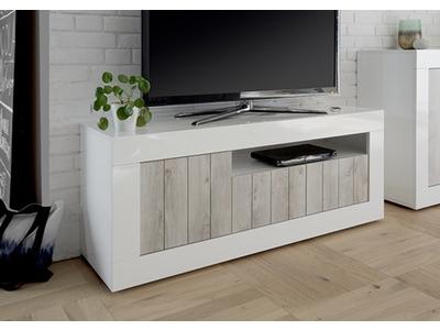 meuble tv 3 portes ferrara blanc brillant oxyde noir