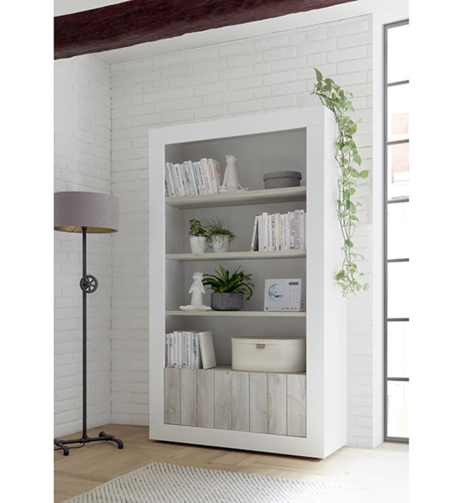 bibliotheque 2 portes ferrara blanc brillant pin blanc