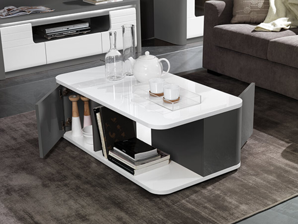 table basse 2 portes bellini laque blanc gris brillant