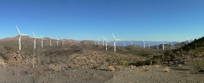 Simulation of what windmills might look like east of Searchlight and near Lake Mohave, home to bald and golden eagle.