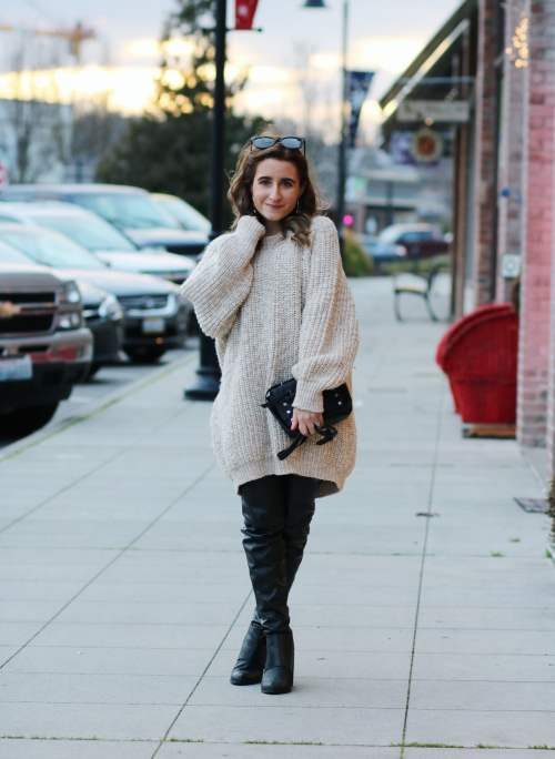 Oversized Sweater and High Boots Basking in Burgundy