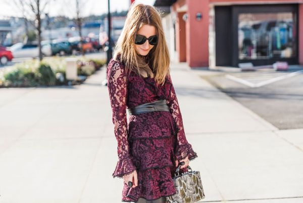 Lace and Leather Basking in Burgundy