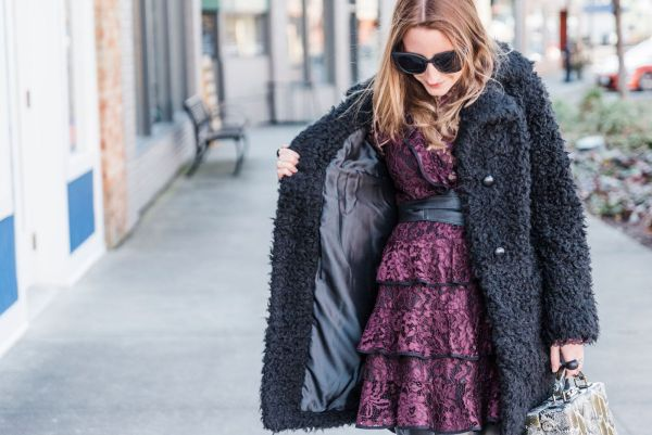 Teddy Coat and Lace Basking in Burgundy