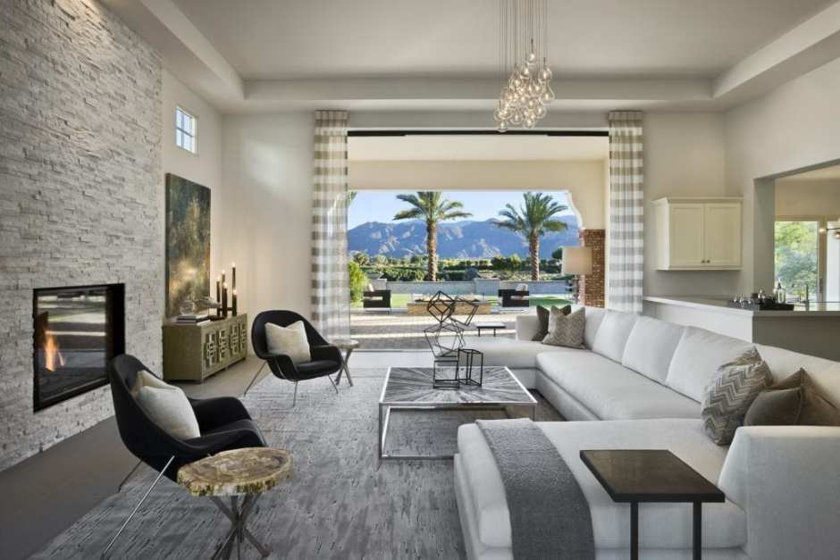 Barclay Butera Modern Living Interior Design Interior living room Coralstone model Andalusia at Coral Springs, La Quinta, California