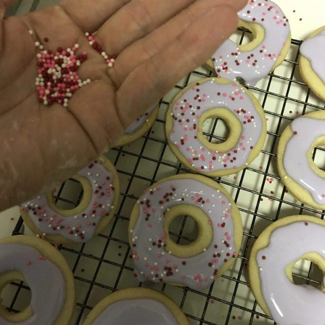 Doughnut shaped sugar cookies