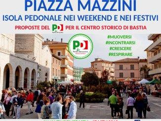 Piazza Mazzini a Bastia Umbra isola pedonale negli weekend e festivi