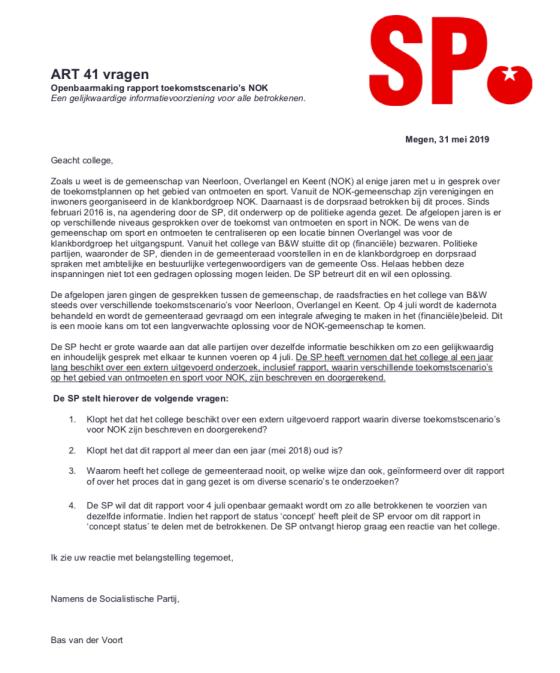 Rapport over Neerloon, Overlangel en Keent moet openbaar
