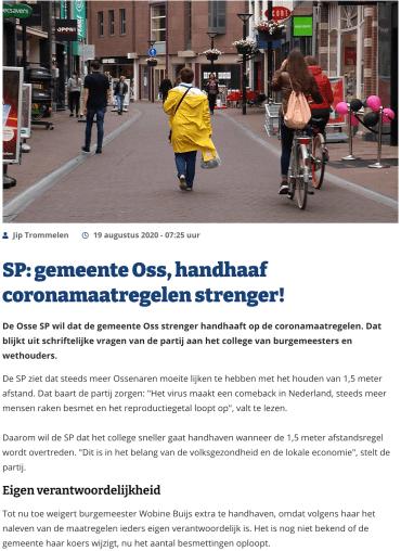 SP vragen over naleving coronamaatregelen in de gemeente Oss