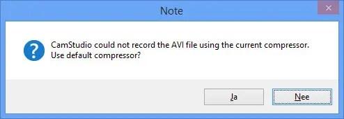 Error recording AVI file using current compressor