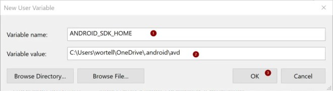 PANIC: HOME is defined but could not find Emulator file in $HOME\.android\avd