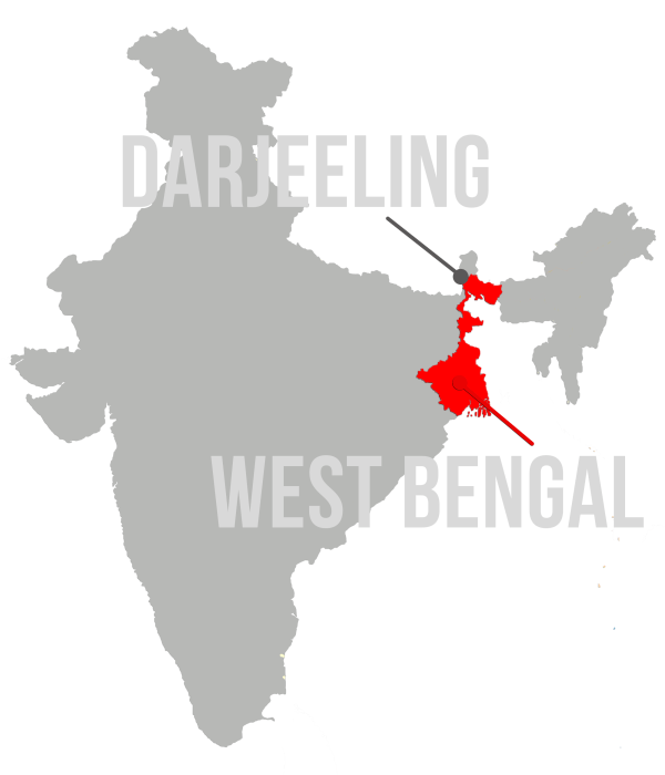 Map of India with West Bengal and Darjeeling highlighted