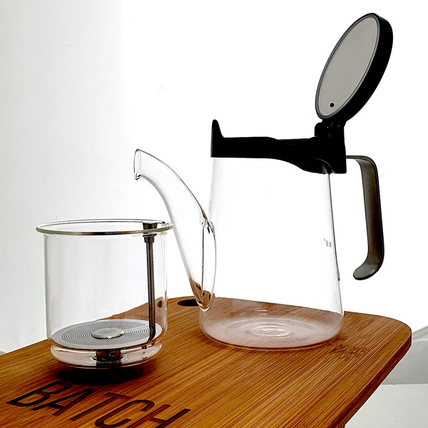 Samadoyo Glass and Stainless Steel Gong Fu Teapot - infuser basket separate
