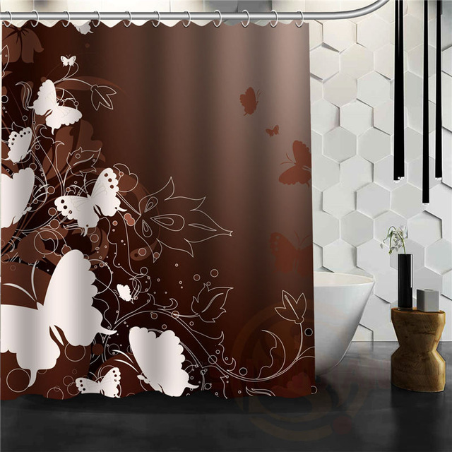 butterfly shower curtain elegant brown