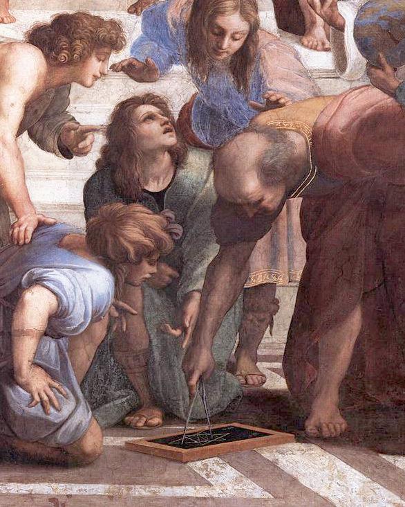 הערצת הגאומטריה, רפאל מצייר את אוקלידס (מתכופף עם המחוגה). פרט מתוך אסכולת אתונה 1510