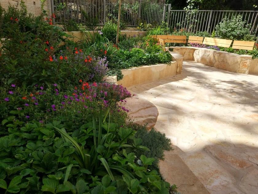 מבט לספסל רחב. יעבור משמש מלאה לצל תוך 3 שנים עם מרבית הצמחים השתולים