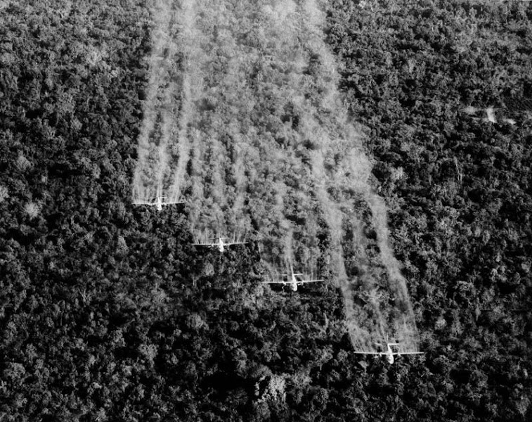 "כן רבותי זאת תמונה אמיתית:  A photo provided by the U.S. Air Force shows four ""Ranch Hand"" C-123 aircraft spraying liquid defoliant on a suspected Viet Cong position in South Vietnam, September 1965. The four specially equipped planes covered a 1,000-foot-wide swath in each pass over the dense vegetation. (AP Photo.US Air Force)"