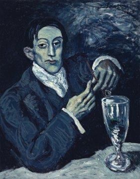 האם גם פיקסו נהג לשתות אבסינט? Portrait of Angel Fernández de Soto התקופה הכחולה בהשפעת המשקה הירוק
