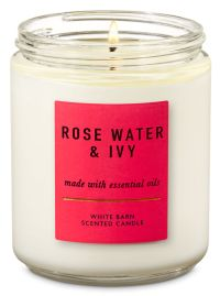 Rose Water & Ivy Single Wick Candle - Bath And Body Works