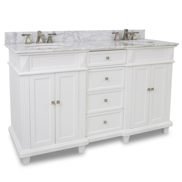"60"" jupiter double sink vanity - white - bathgems"