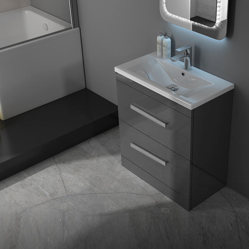 patello 600mm grey modern vanity unit and basin 2 draws