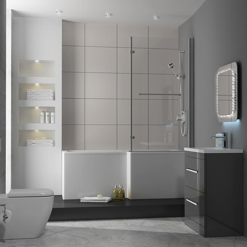 Patello 60 Grey L Shapped Shower Bath Suite Buy Online At