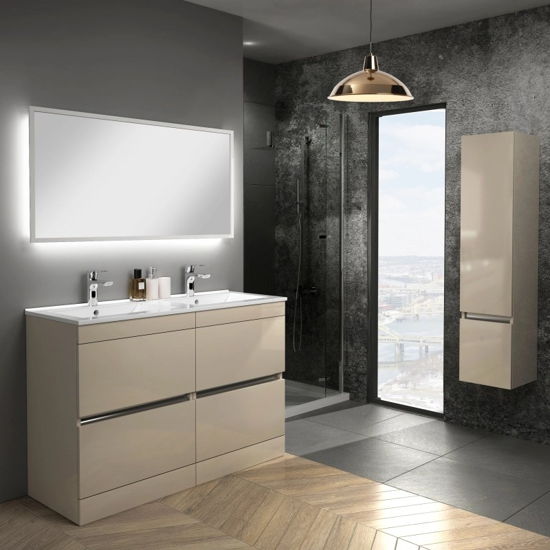 Pemberton Gold Floor Standing Handless 4 Drawers Double Basin Unit Buy Online At Bathroom City