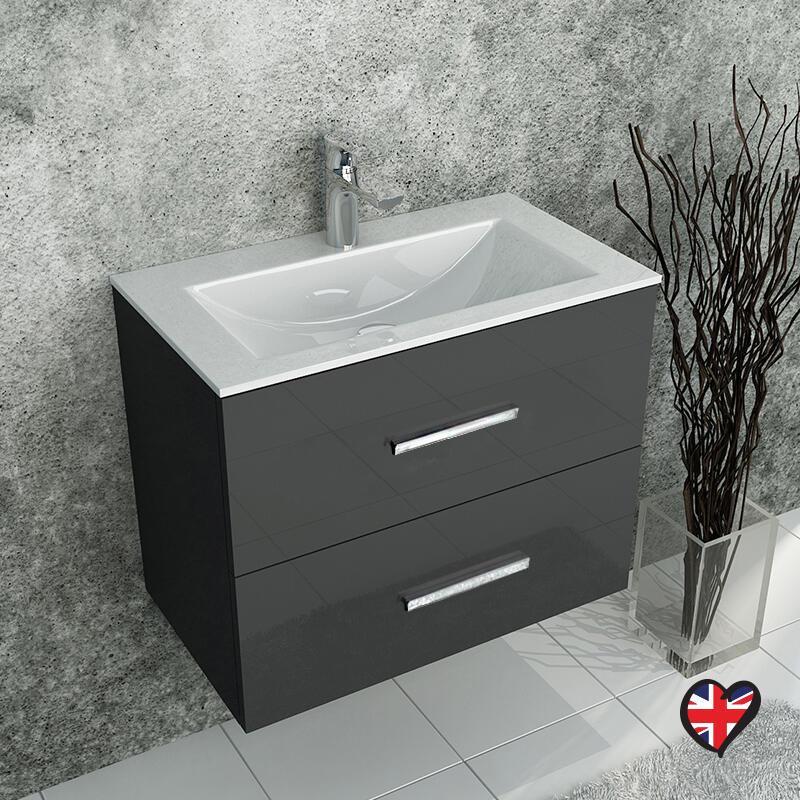 sonix grey wall hung 610 unit 2 drawers ceramic basin