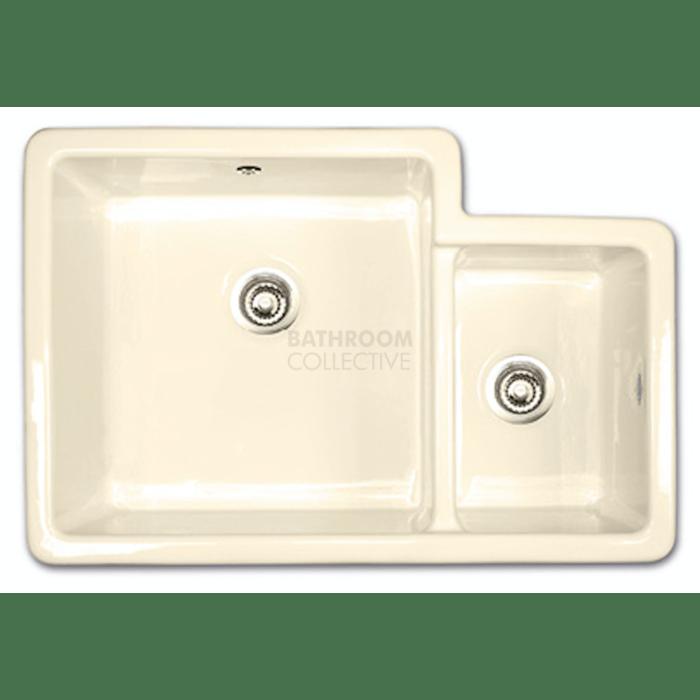 shaws of darwen brindle 800 inset or undermount rectangle kitchen fireclay sink 760 x 500 x 225mm biscuit