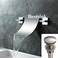 AquaOne Contemporary Double Handle Waterfall Style Wall Mount Bathroom Sink Faucet & Pop Up Drain ~Brushed Nickel Finish~